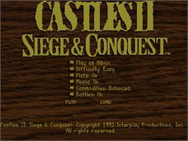 Title screen of Castles 2: Siege & Conquest on the Commodore Amiga CD32.