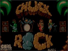Title screen of Chuck Rock on the Commodore Amiga CD32.