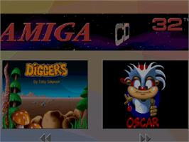 Title screen of Diggers & Oscar on the Commodore Amiga CD32.
