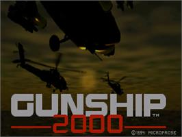 Title screen of Gunship 2000 on the Commodore Amiga CD32.