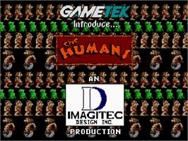 Title screen of Humans 1 and 2 on the Commodore Amiga CD32.