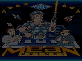 Title screen of Mean Arenas on the Commodore Amiga CD32.