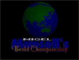 Title screen of Nigel Mansell's World Championship on the Commodore Amiga CD32.