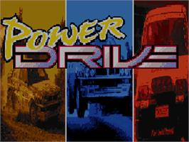 Title screen of Power Drive on the Commodore Amiga CD32.