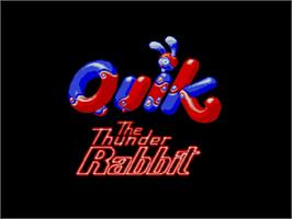 Title screen of Quik the Thunder Rabbit on the Commodore Amiga CD32.