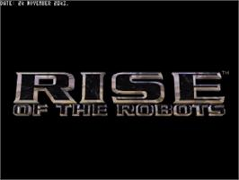 Title screen of Rise of the Robots on the Commodore Amiga CD32.