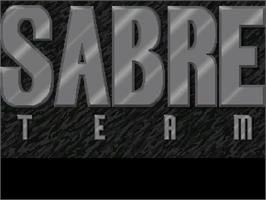 Title screen of Sabre Team on the Commodore Amiga CD32.