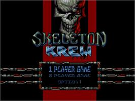 Title screen of Skeleton Krew on the Commodore Amiga CD32.