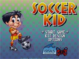 Title screen of Soccer Kid on the Commodore Amiga CD32.