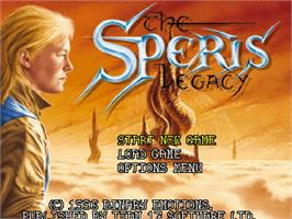 Title screen of Speris Legacy on the Commodore Amiga CD32.