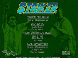 Title screen of Striker on the Commodore Amiga CD32.
