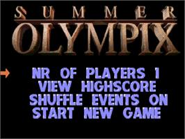 Title screen of Summer Olympix on the Commodore Amiga CD32.