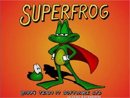 Title screen of Super Frog on the Commodore Amiga CD32.