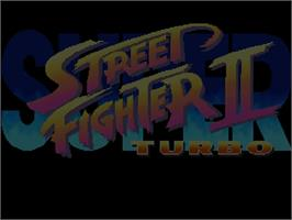 Title screen of Super Street Fighter II Turbo on the Commodore Amiga CD32.