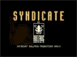 Title screen of Syndicate on the Commodore Amiga CD32.