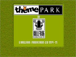 Title screen of Theme Park on the Commodore Amiga CD32.