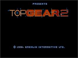 Title screen of Top Gear 2 on the Commodore Amiga CD32.