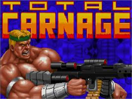 Title screen of Total Carnage on the Commodore Amiga CD32.