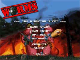 Title screen of Worms on the Commodore Amiga CD32.