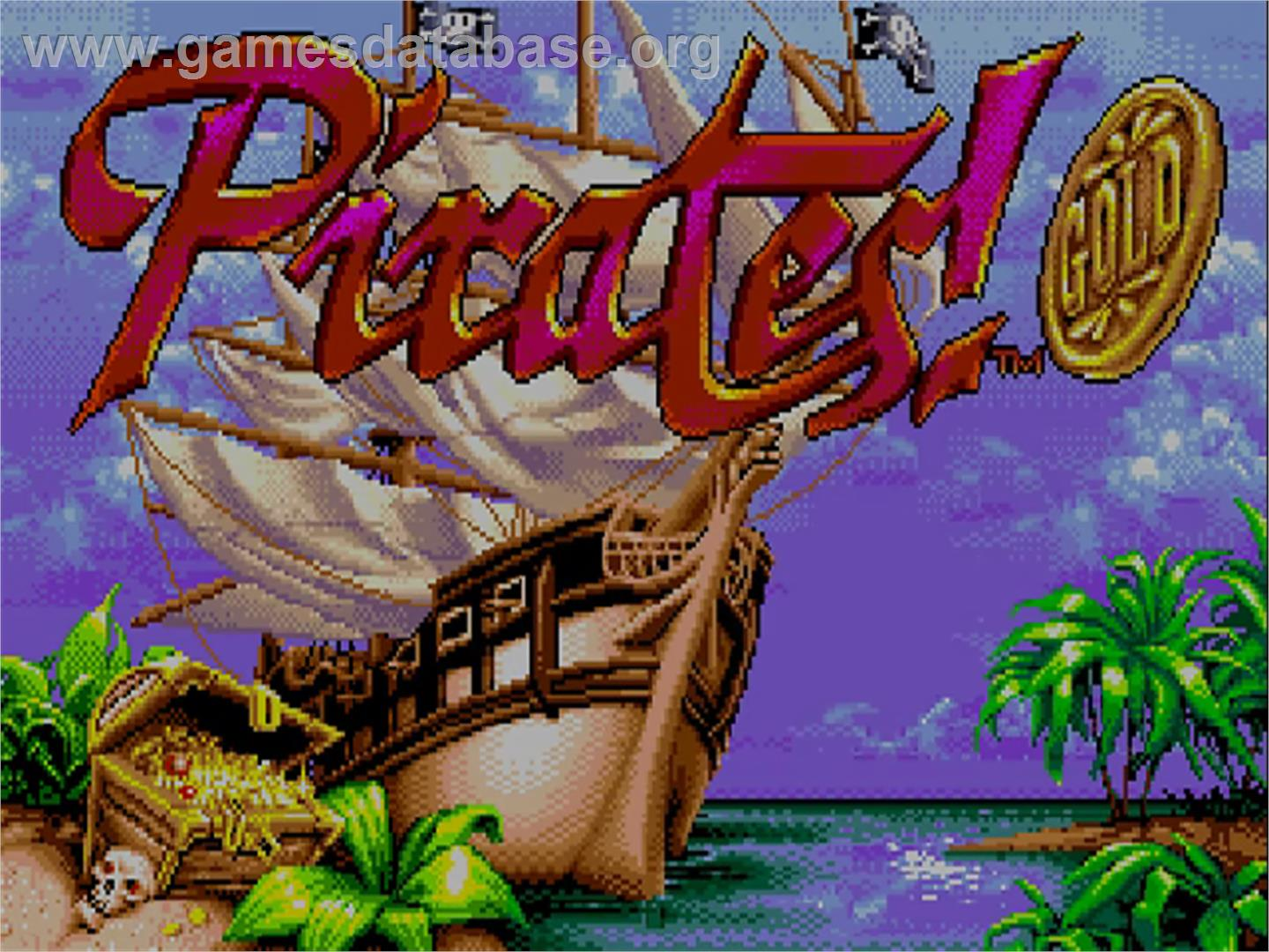 Title screen of Pirates! Gold on the Commodore Amiga CD32.