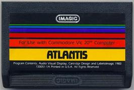 Cartridge artwork for Atlantis on the Commodore VIC-20.