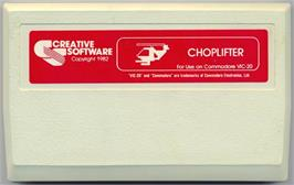 Cartridge artwork for Choplifter on the Commodore VIC-20.