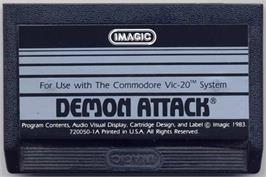 Cartridge artwork for Demon Attack on the Commodore VIC-20.