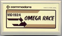 Cartridge artwork for Omega Race on the Commodore VIC-20.