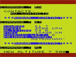 In game image of B-1 Nuclear Bomber on the Commodore VIC-20.