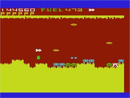In game image of Cavern Fighter on the Commodore VIC-20.