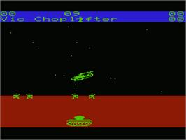 In game image of Choplifter on the Commodore VIC-20.