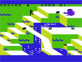 In game image of Congo Bongo on the Commodore VIC-20.
