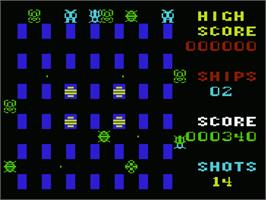 In game image of Crossfire on the Commodore VIC-20.