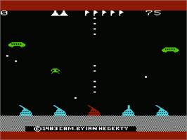 In game image of Defender on the Commodore VIC-20.