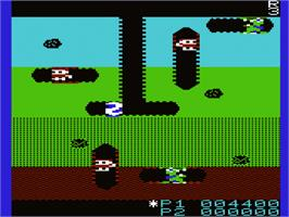 In game image of Dig Dug on the Commodore VIC-20.