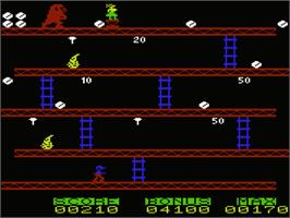 In game image of Donkey Kong on the Commodore VIC-20.