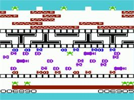 In game image of Frogger on the Commodore VIC-20.