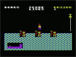 In game image of Hunchback on the Commodore VIC-20.