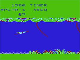 In game image of Jungle Hunt on the Commodore VIC-20.