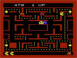In game image of Ms. Pac-Man on the Commodore VIC-20.
