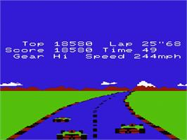 In game image of Pole Position on the Commodore VIC-20.