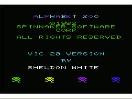 Title screen of Alphabet Zoo on the Commodore VIC-20.