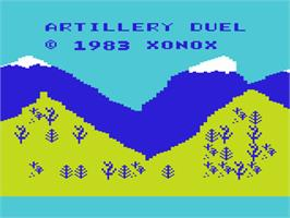 Title screen of Artillery Duel on the Commodore VIC-20.