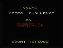 Title screen of Aztec Challenge on the Commodore VIC-20.