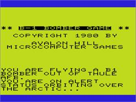 Title screen of B-1 Nuclear Bomber on the Commodore VIC-20.