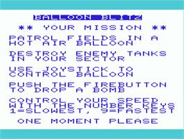 Title screen of CannonBall Blitz on the Commodore VIC-20.