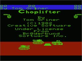 Title screen of Choplifter on the Commodore VIC-20.