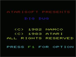Title screen of Dig Dug on the Commodore VIC-20.