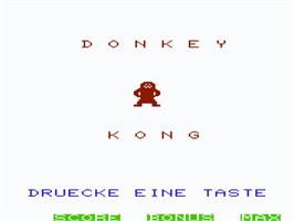 Title screen of Donkey Kong on the Commodore VIC-20.