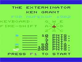 Title screen of Exterminator on the Commodore VIC-20.